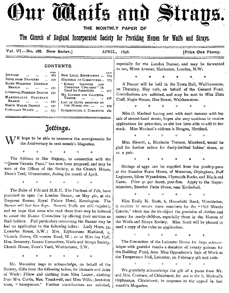 Our Waifs and Strays April 1898 - page 61