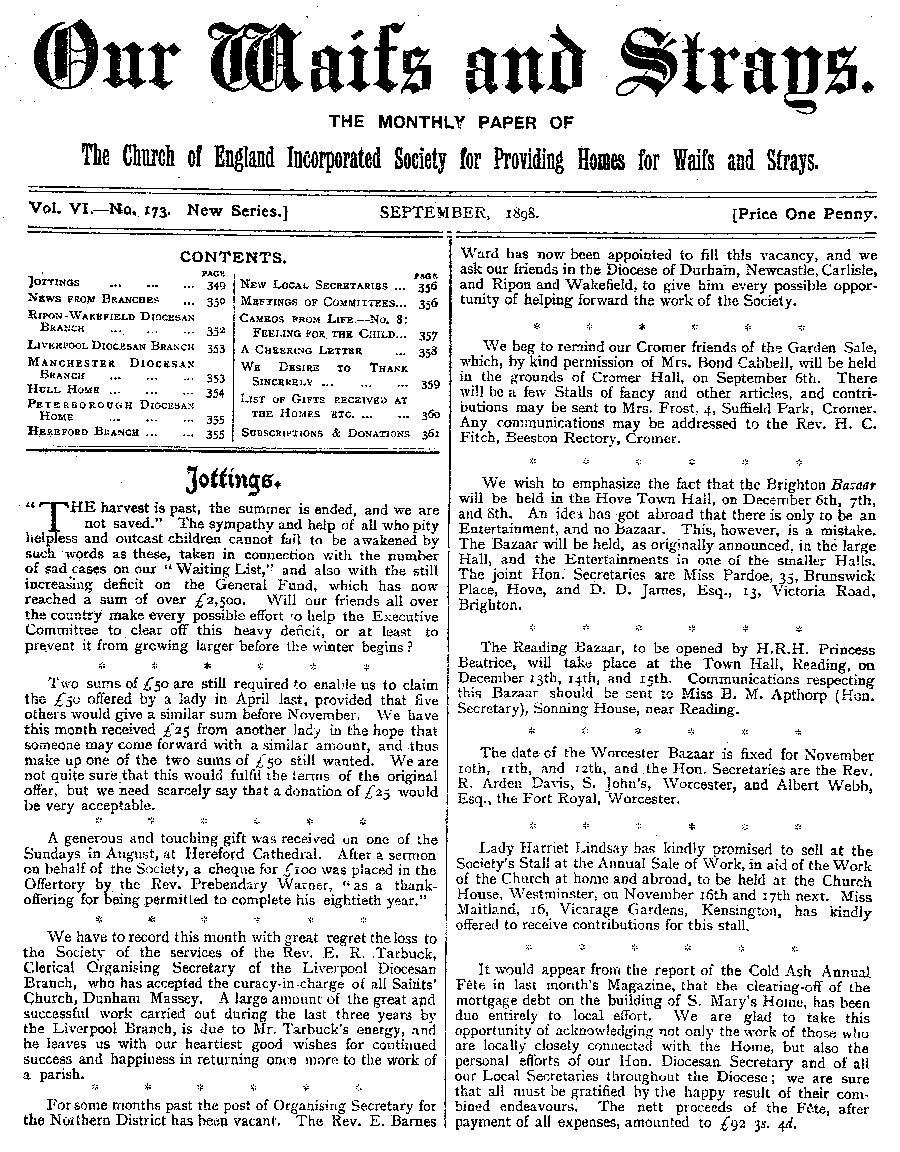 Our Waifs and Strays September 1898 - page 139