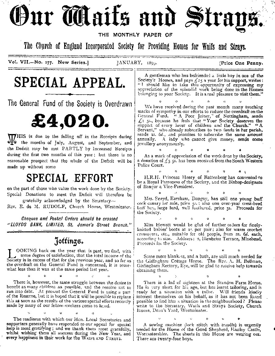 Our Waifs and Strays January 1899 - page 1