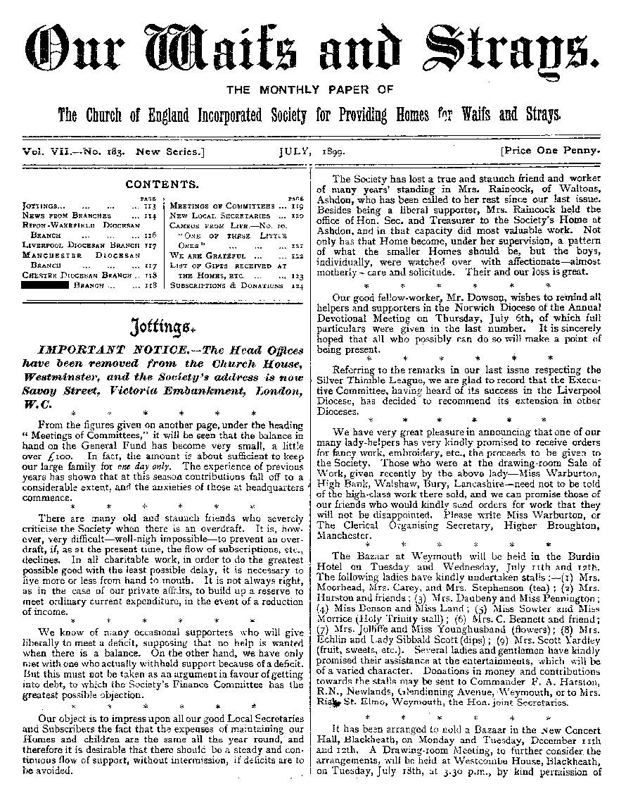 Our Waifs and Strays July 1899 - page 136