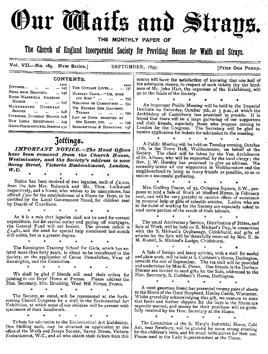 Our Waifs and Strays September 1899 - page 176