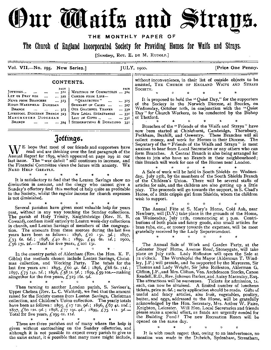Our Waifs and Strays July 1900 - page 122