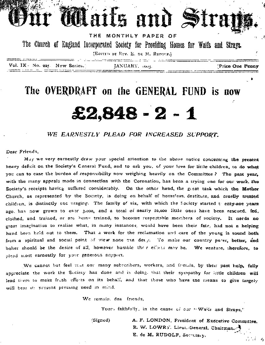 Our Waifs and Strays January 1903 - page 1
