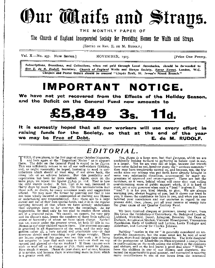 Our Waifs and Strays November 1905 - page 162