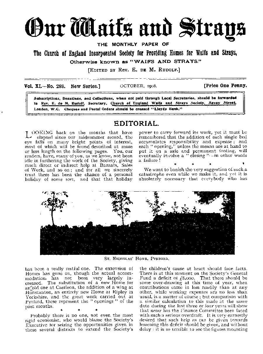 Our Waifs and Strays October 1908 - page 186