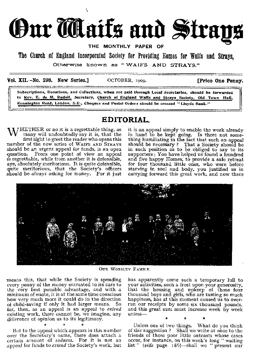 Our Waifs and Strays October 1909 - page 189