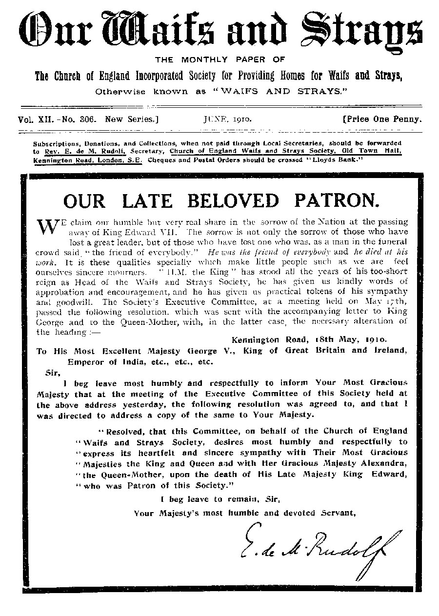 Our Waifs and Strays June 1910 - page 134