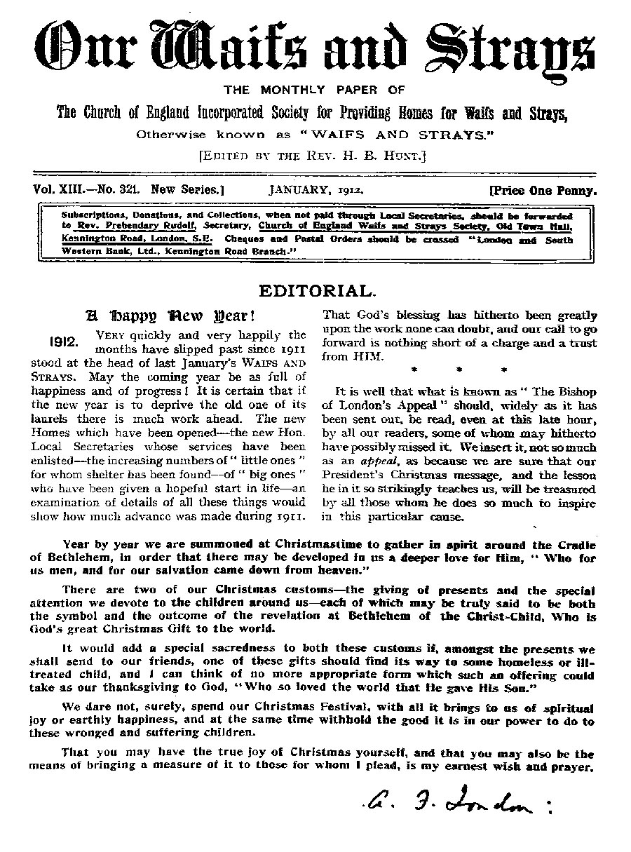 Our Waifs and Strays January 1912 - page 1