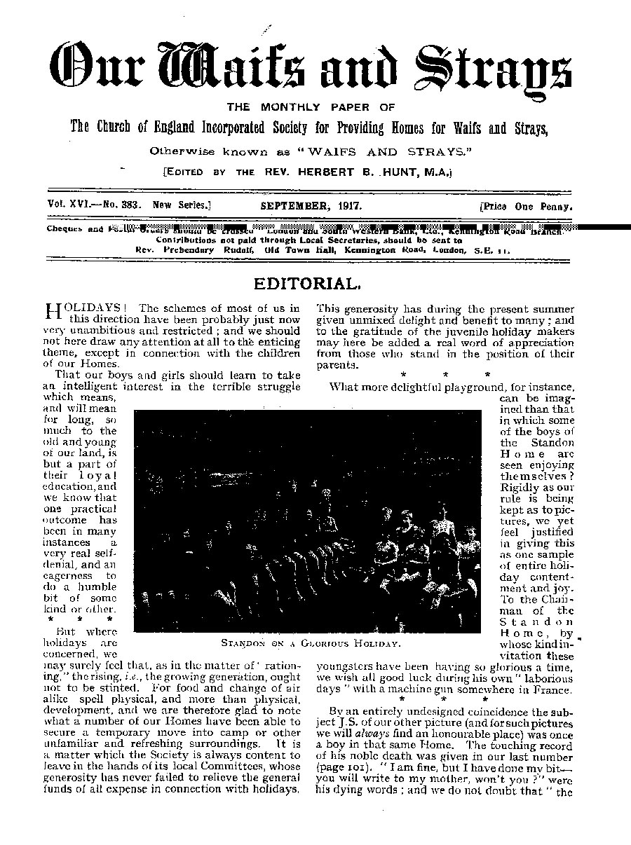 Our Waifs and Strays September 1917 - page 121