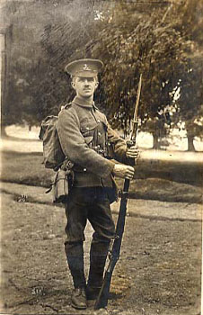 Many of the Society's 'old boys' fought in the First World War and were enlisted in regiments near to their former home. This young man came from the Rochdale Home in Lancashire, and served as a private for a Liverpool Regiment.