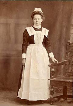 Dressed in her maid's clothing, this girl was just about to start her career in domestic service. During her 12 years at the Bolton-le-Sands Home, she would have been well trained for her new life.